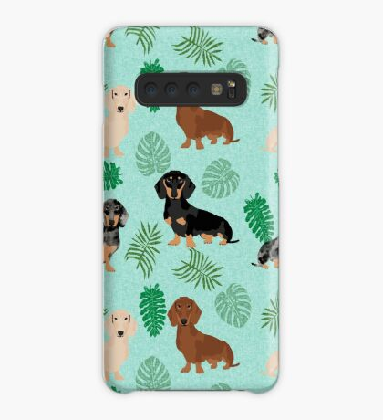 Dachshund summer monstera tropical pure breed dog gifts Case/Skin for Samsung Galaxy