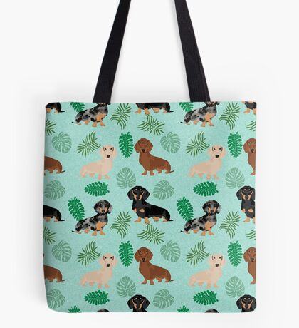 Dachshund summer monstera tropical pure breed dog gifts Tote Bag