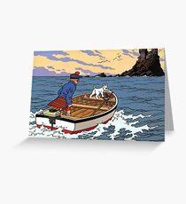 Tintin L'Ile Noire Castle Greeting Card
