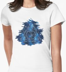 Galaxy Hallows - branches and stag - outline silhouette and brush strokes background (blue galaxy) - wand, cloak, stone Women's Fitted T-Shirt