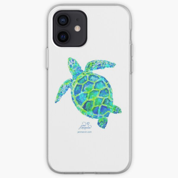 Sea Turtle green & blue by Jan Marvin iPhone Soft Case