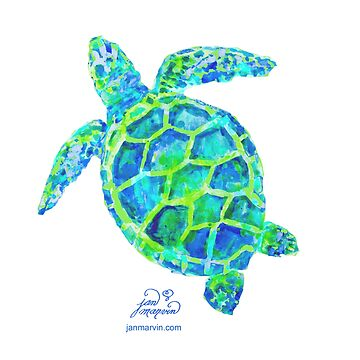 Sea Turtle green & blue by Jan Marvin by janmarvin
