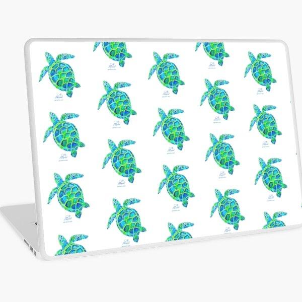 Sea Turtle green & blue by Jan Marvin Laptop Skin