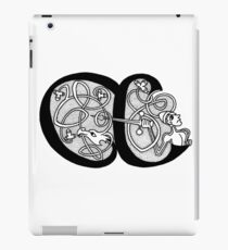 Knight and Dragon Alphabet - A - black and white iPad Case/Skin