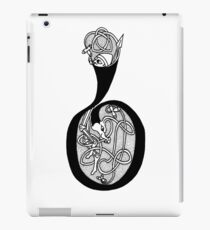 Knight and Dragon Alphabet - B - black and white iPad Case/Skin