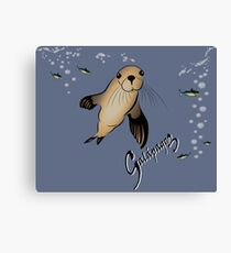 Galapagos Sea lion and bubbles Canvas Print