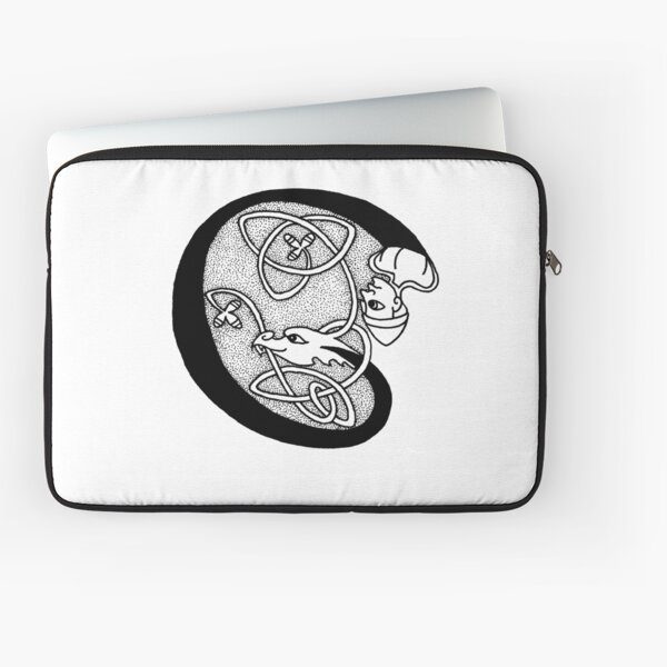 Knight and Dragon Alphabet - C - black and white Laptop Sleeve