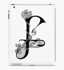 Knight and Dragon Alphabet - F - black and white iPad Case/Skin