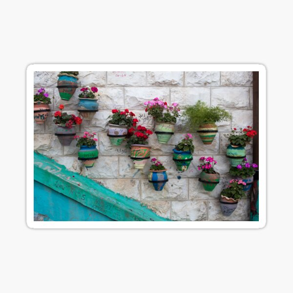 Colorful Flower Pots Along a Brick Wall Sticker