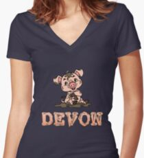Devon Piggy Women's Fitted V-Neck T-Shirt