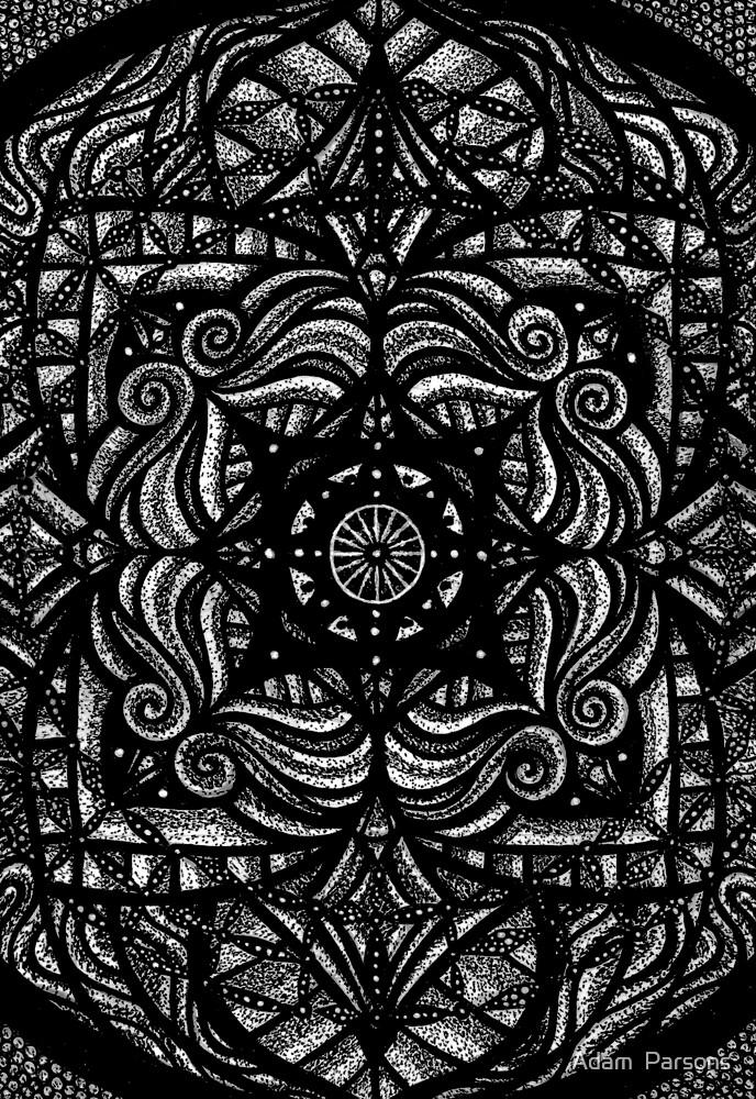 Mandala dark flower by Adam  Parsons