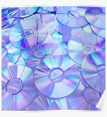 Retro Blue CD Pattern Poster