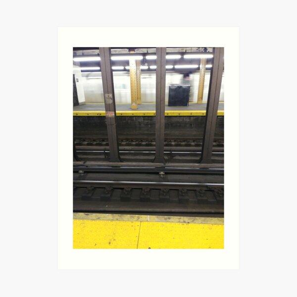 Track,Window, Subway, rails, metals, railway, railroad, elevated, columns Art Print