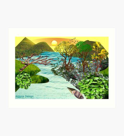 Leaf flower Pattern /lake side  ( 824 Views) Art Print