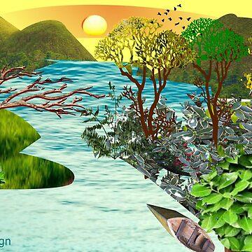 Leaf flower Pattern /lake side  ( 824 Views) by aldona