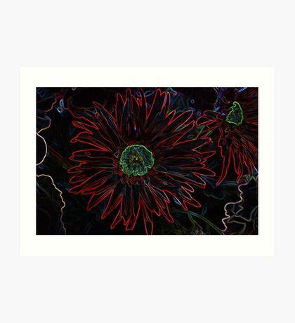 Colors Flower In Black Art Print