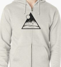 Mountain and Moon Triangle Zipped Hoodie