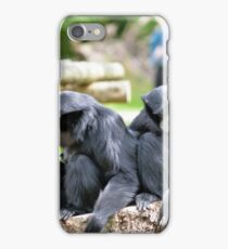 Siamang Gibbon family relaxing in fota wildlife park iPhone Case/Skin