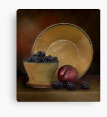 Blackberries And A Plum Canvas Print