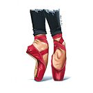 Red ballet shoes by Elza Fouche