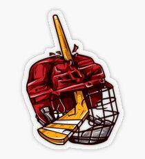 Hockey Stick Through the Helmet Pegatina transparente