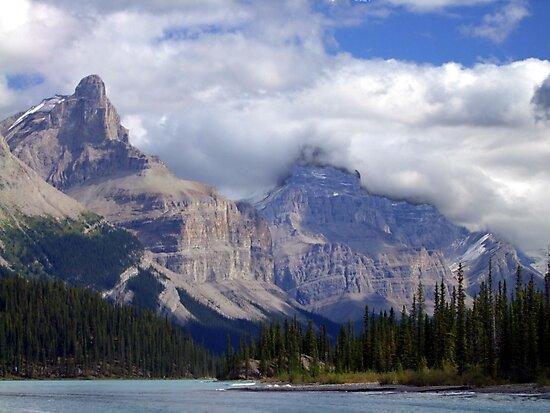 Two Peaks-Maligne Lake by George Cousins