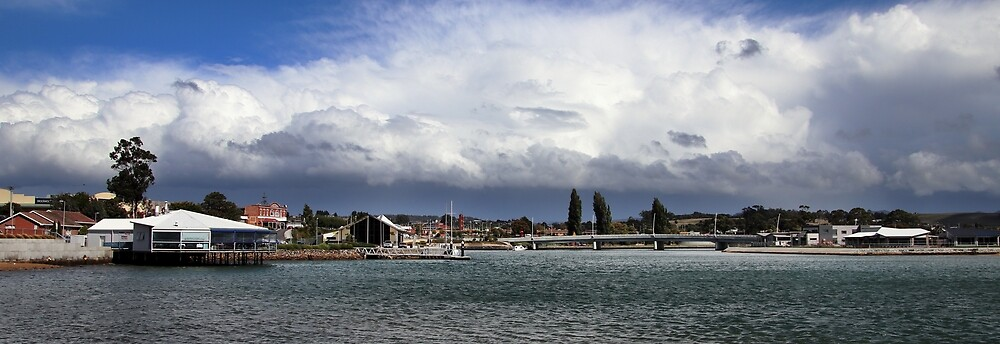 Leven River stormy skies by Gaylene Norton