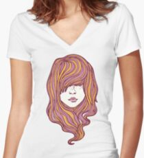 Her hair Women's Fitted V-Neck T-Shirt