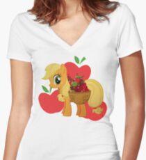 Apple Jack Women's Fitted V-Neck T-Shirt