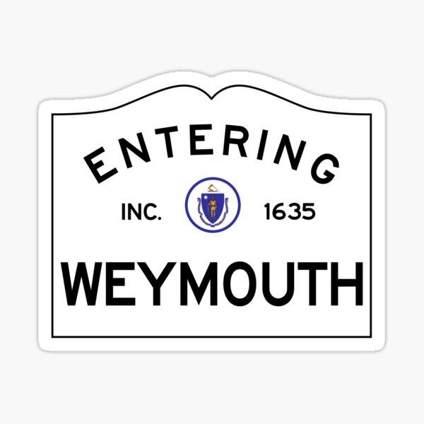 Entering Weymouth Massachusetts - Commonwealth of Massachusetts Road Sign  Sticker