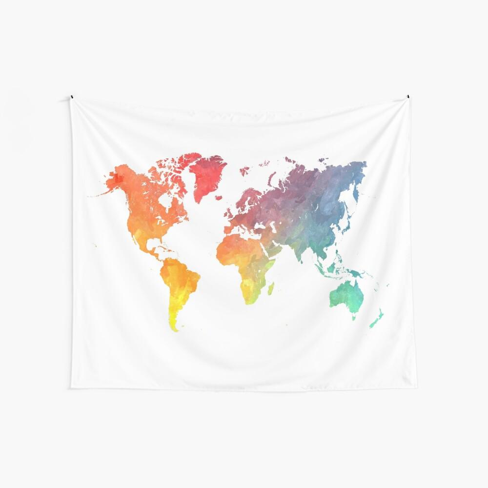 Karte der Welt gefärbt Wandbehang
