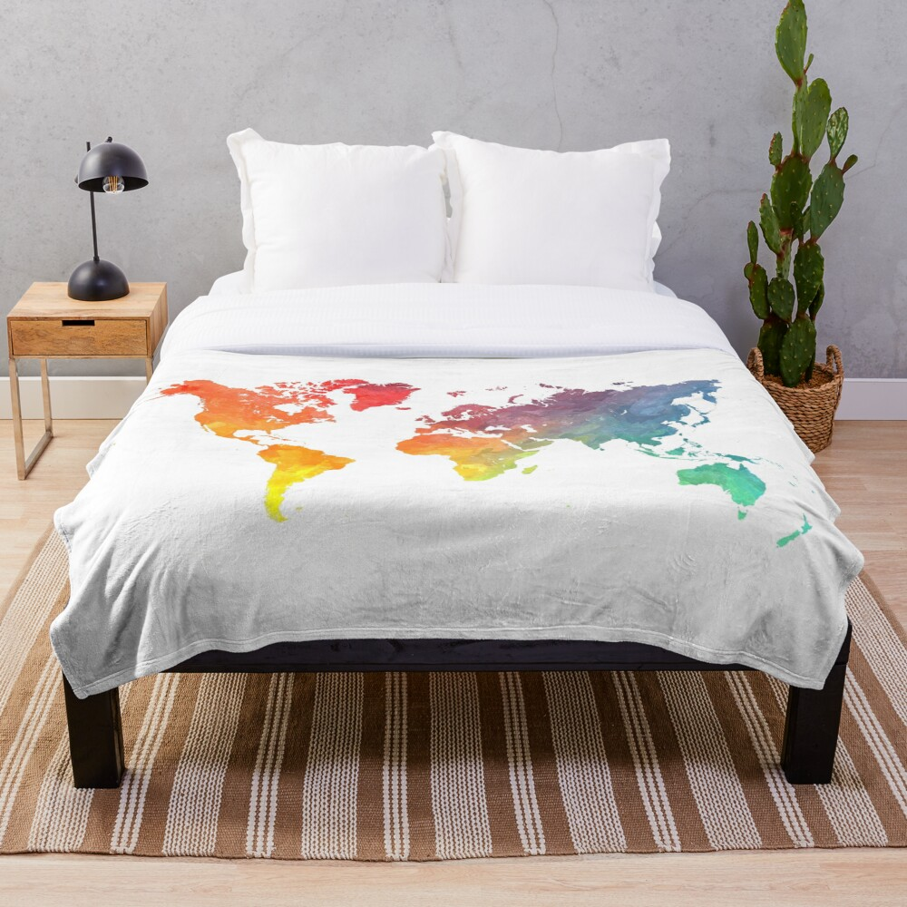 Map of the world colored Throw Blanket
