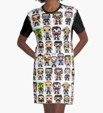 QWA Vinyl Pop-fighters Graphic T-Shirt Dress