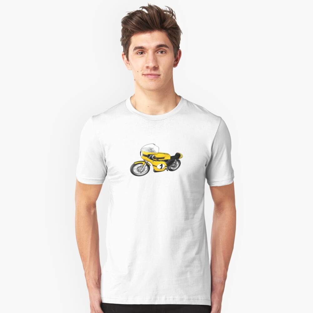 Motorcycle T-shirts Art: Yellow & black Slim Fit T-Shirt