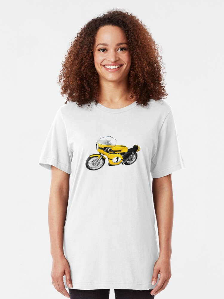 Alternate view of Motorcycle T-shirts Art: Yellow & black Slim Fit T-Shirt