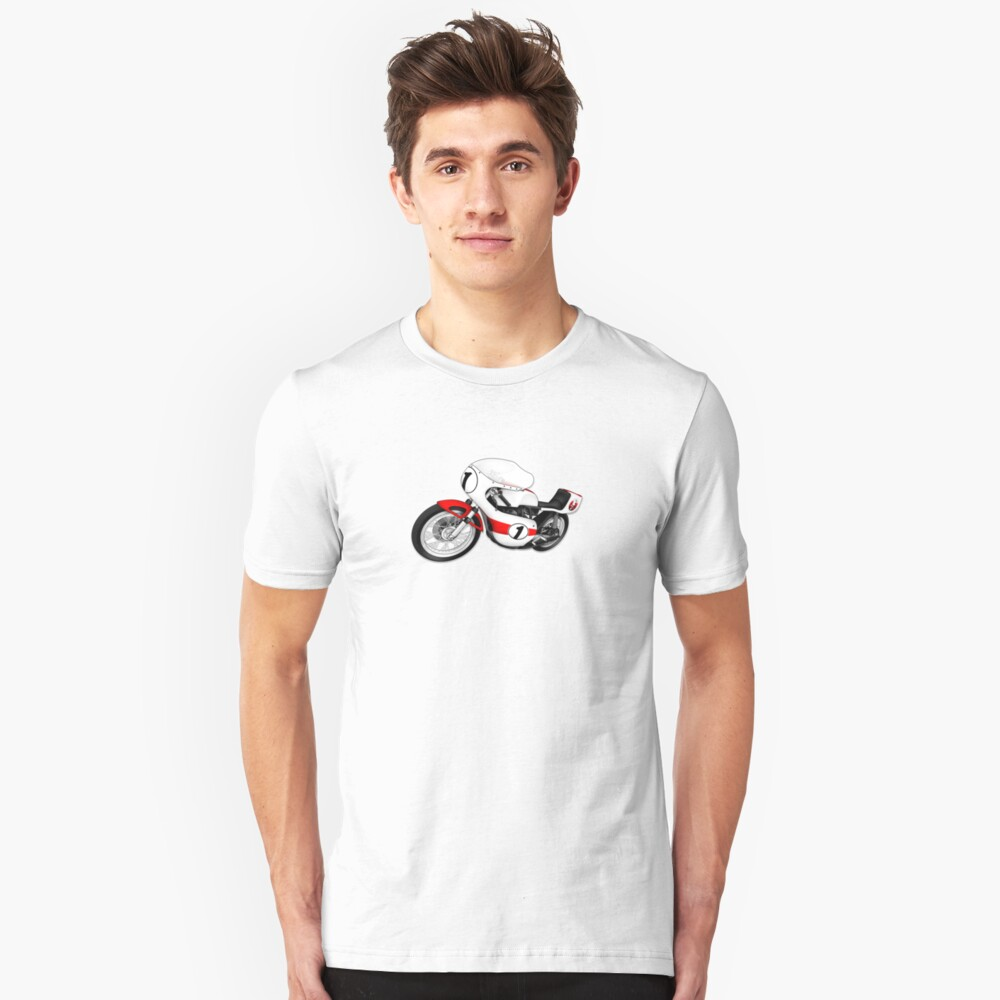 Motorcycle T-shirts Art: White & Red Slim Fit T-Shirt