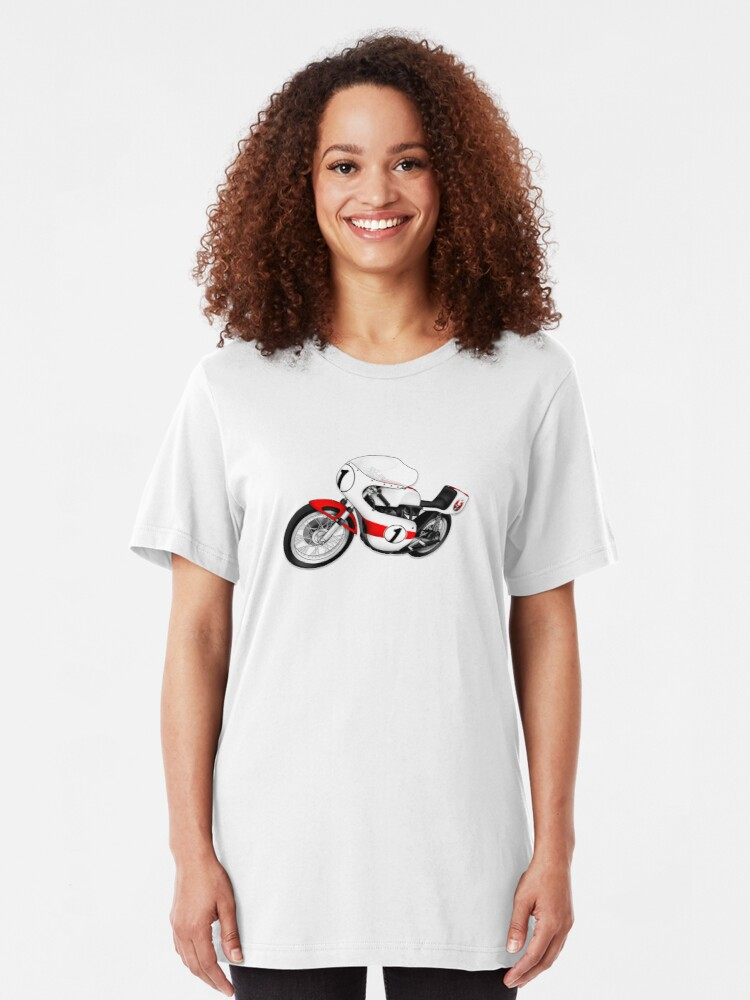 Alternate view of Motorcycle T-shirts Art: White & Red Slim Fit T-Shirt
