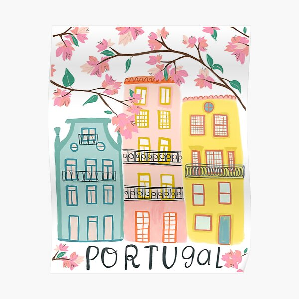 Pretty Portugal houses and flowers Poster