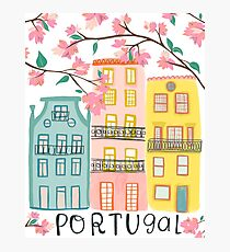 Pretty Portugal houses and flowers Photographic Print
