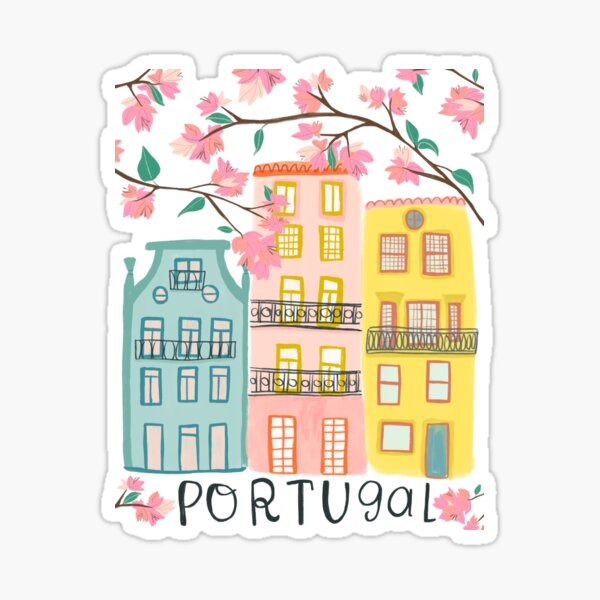Pretty Portugal houses and flowers Sticker