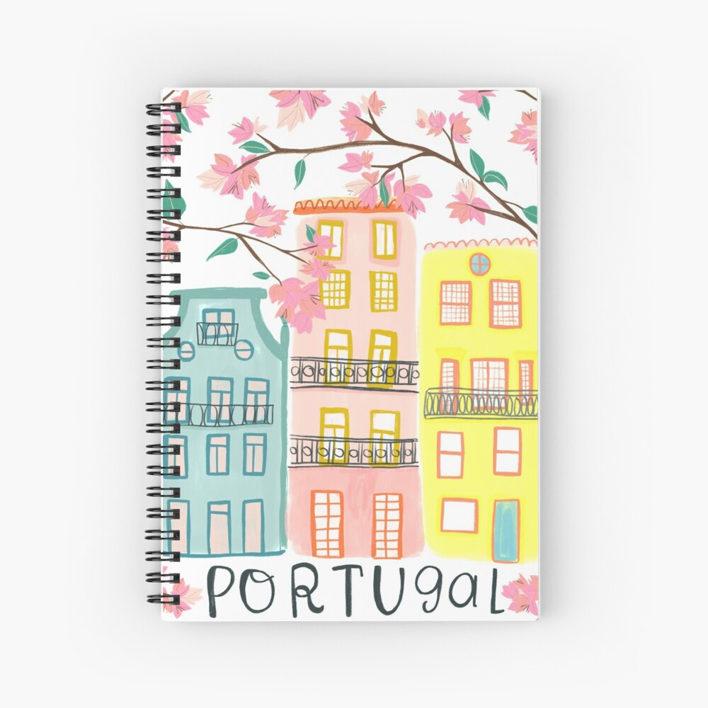 Pretty Portugal houses and flowers Spiral Notebook