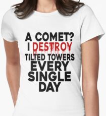 I destroy Tilted Towers Women's Fitted T-Shirt