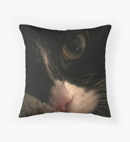 molly white and black cat Throw Pillow