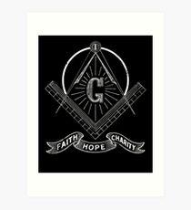 Masonic Lodge Shirt Faith Hope Charity Freemason Art Print