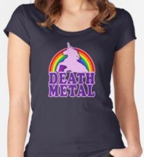 Funny Death Metal Unicorn Rainbow (vintage distressed look) Women's Fitted Scoop T-Shirt