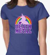 Funny Death Metal Unicorn Rainbow (vintage distressed look) Women's Fitted T-Shirt