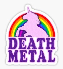 Funny Death Metal Unicorn Rainbow (vintage distressed look) Sticker