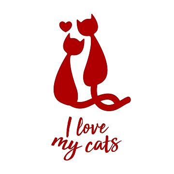 I love Cats Cat Lover Heart Design by PixelPuff