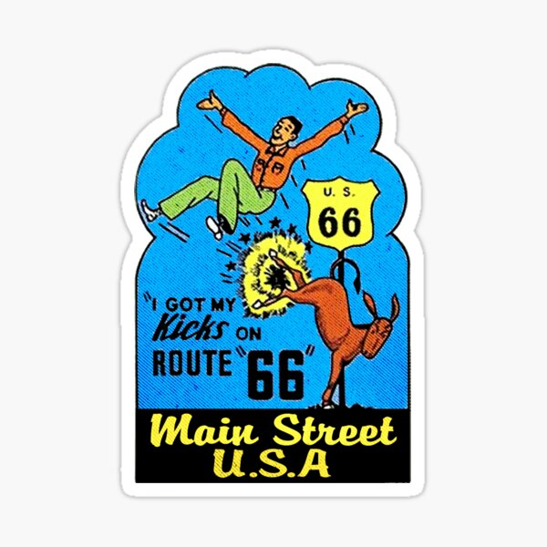 Route 66 Get Your Kicks Main Street U.S.A Vintage Style Sticker