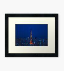 Lámina enmarcada Torre de Tokio en azul